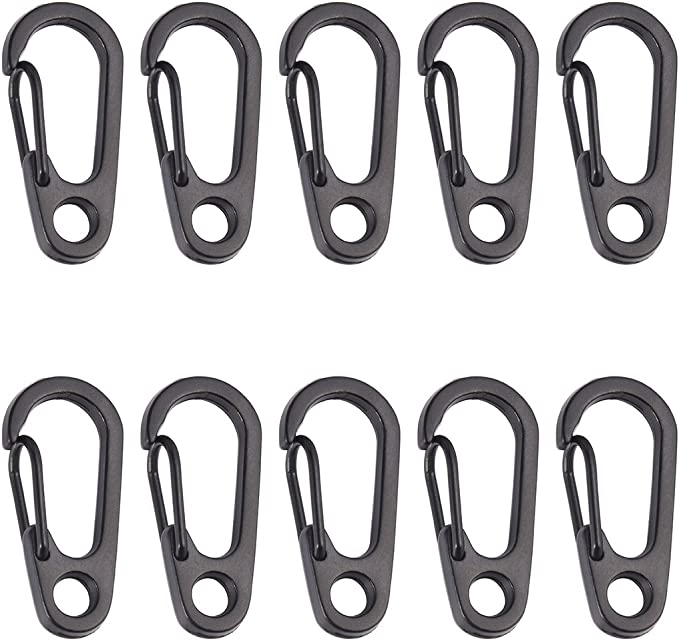Pack of 10pcs Mini Carabiner Snap Spring Clips Hook Keyring EDC Survival Tool