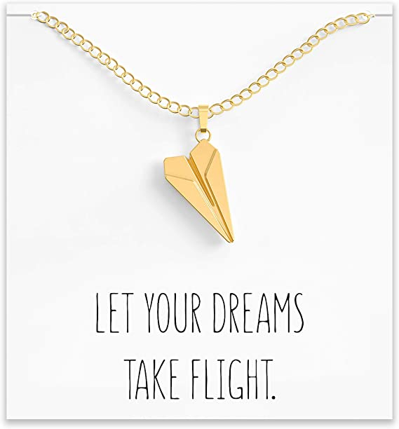 3 Best Friends Necklace Silver Paper Airplane Charm Necklace Traveler Gift Outdoors Gift, Travel Gift Adventure Gift