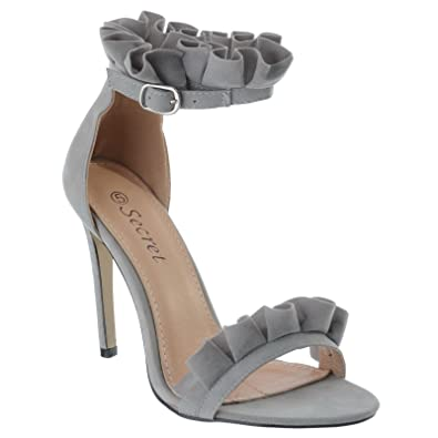 bafb97ab387f Ladies Womens Barely There HIGH Heel Frill Ruffle Party Sandals Shoes Size   Grey Faux Suede
