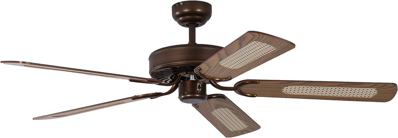 Pepeo Potkuri ventilador de techo sin luz, carcasa de bronce viejo, aspas reversibles color roble con insertos de ratán, 132 cm, para habitaciones de hasta 25 m²: Amazon.es: Bricolaje y herramientas