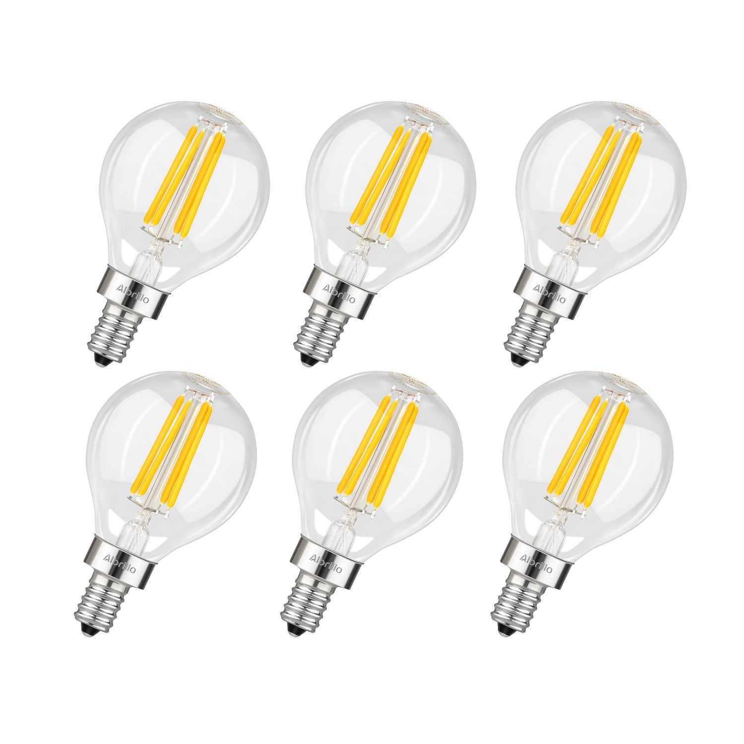 Albrillo E12 LED Candelabra Bulb 4W, 40 Watt Light Bulbs Equivalent, Warm White 2700K, 6 Pack