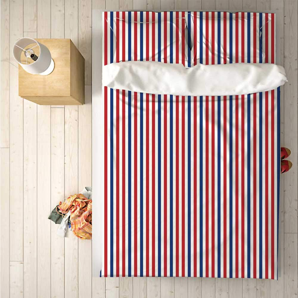 USA Soft 4 Piece Bedding Set,Symbolic Colors of American Independence Day Classic Tones National Concept for Bedroom,One Side Print : Singe
