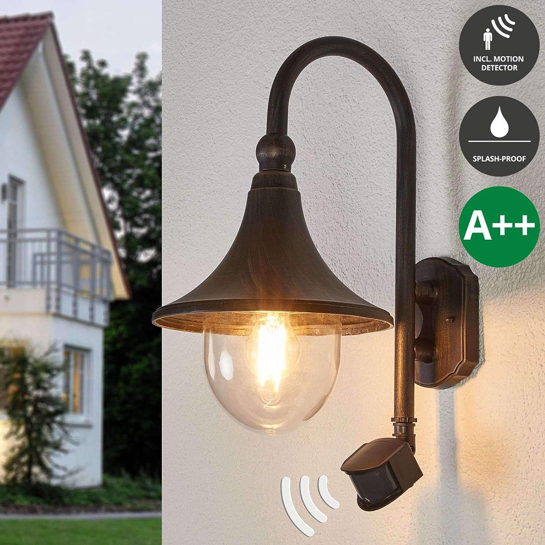 | Außenlampe Haus Energieklasse A+ spritzwassergeschützt 1 flammig, A+, inkl. Leuchtmittel Modern Wandlampe für Outdoor /& Garten Außenwand//Hauswand Terrasse Balkon in Alu aus Kunststoff Lampenwelt LED Wandleuchte außen mit Bewegungsmelder