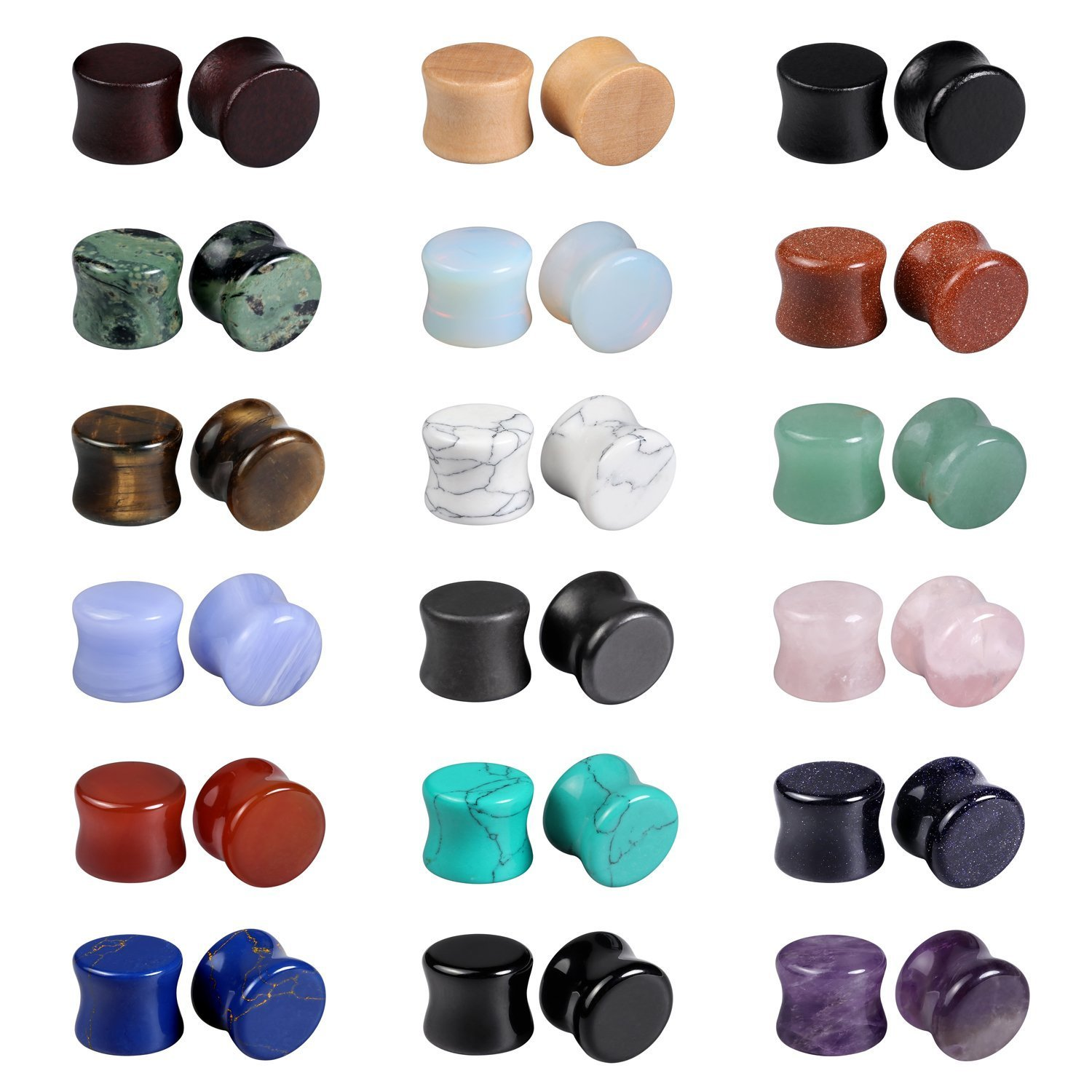 Evevil Wood Mixed Stone Plugs 18 Pairs/36 Pieces Set 1/2'' Ear Plugs Ear Tunnels Ear Gauges Double Flared Ear Expander Stretcher Set (12MM)