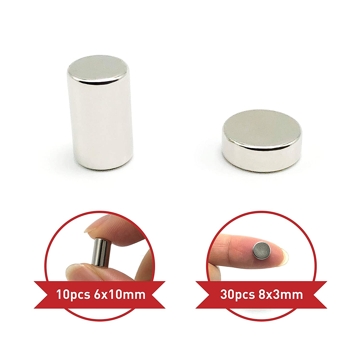 Stainless Steel Fridge Magnets by Theodora 40-Pack Refrigerator Magnets 10-pcs 6x10mm 30-pcs 8x3mm