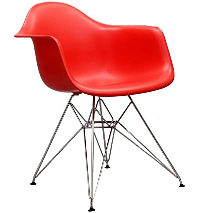 Modway Paris Mid Century Modern Molded Plastic Armchair In Red