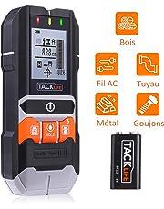 TACKLIFE DMS05 - Rilevatore di costruzioni, 4 in 1, fili elettrici, umidità, borchie in legno su pareti, pavimenti e soffitti, scanner elettronico di guazzi, schermo LCD retroilluminato