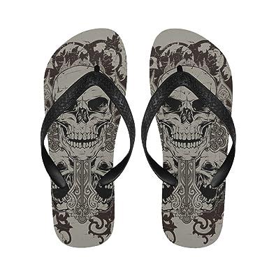 73494c6d0 Gothic Punk Skull Flip Flops Beach Sandals For Men and Women