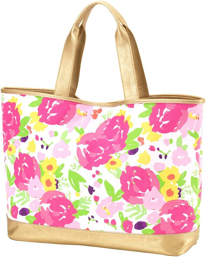 Personalized Womens Floral Cabana Large Tote with Gold Colored Accents Floral Plain