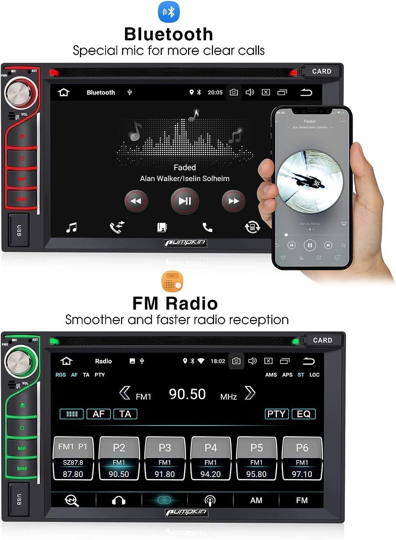 Controllo Volante Supporto Bluetooth Mirror-Link Pumpkin Android 9.0 2 DIN Autoradio Universale con DVD 32 GB ROM//8 Cord Wi-Fi Auto Stereo Radio con GPS Navigazione SD 4 GB RAM USB