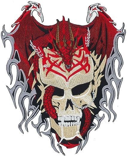 Parche con motivo de dragón, calavera, tatuaje tribal, motero ...