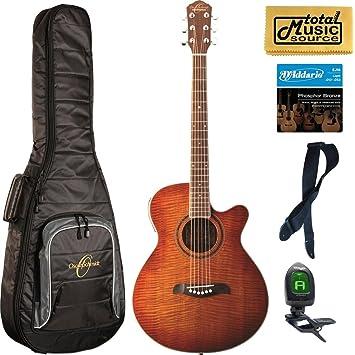 Oscar Schmidt concierto/Folk Guitarra acústica/eléctrica, llama amarillo, og10cefys lote de funda, og10cefys mochila: Amazon.es: Instrumentos musicales