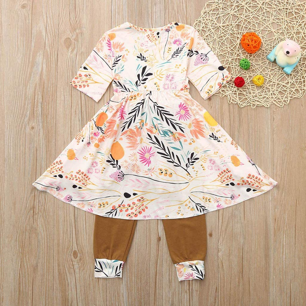 Vinjeely Baby Girl Fashion Clothes Floral Ruffle Half Sleeves Skirt Tops Pants Outfits Set