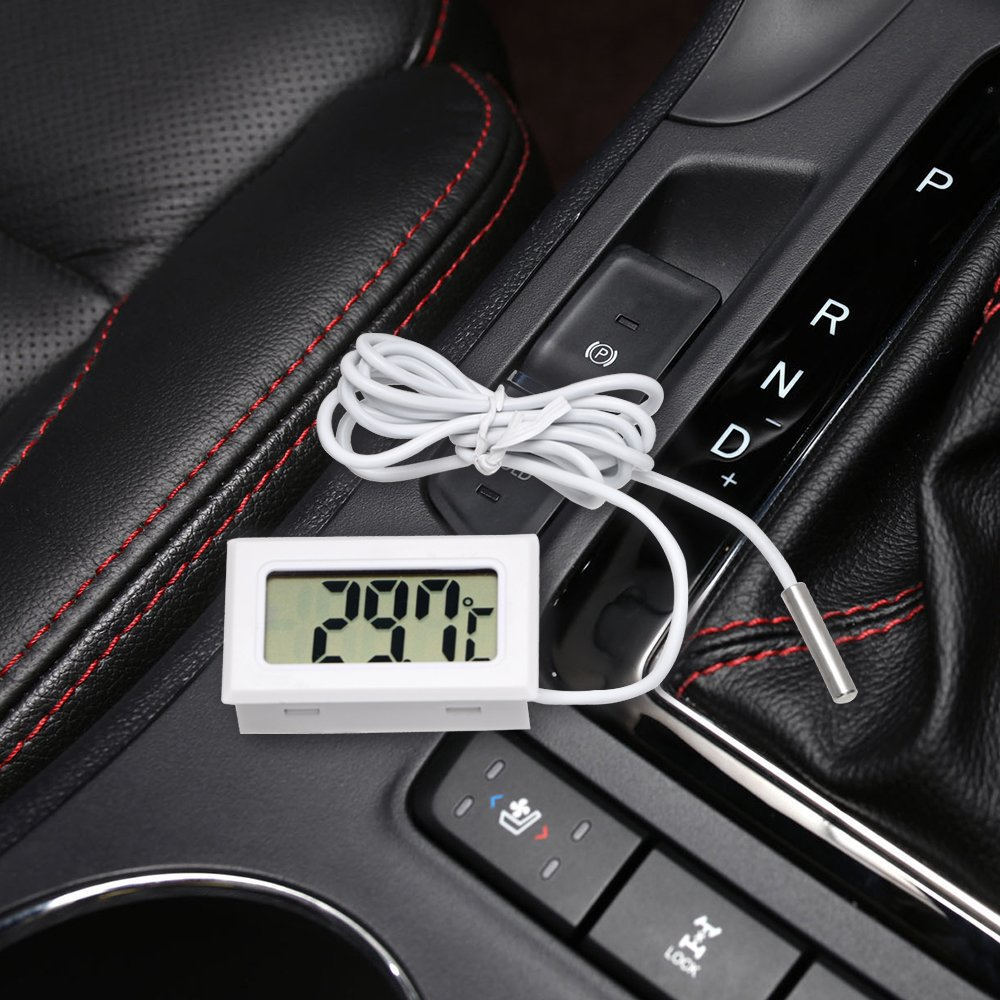 Schwarz Auto-Styling LCD Display Auto Thermometer Auto Ornamente Mini Temperaturanzeige Meter Digitaluhr F/ür Aquarium K/ühlschrank