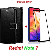 Goelectro Redmi Note 7 / Note7 (Combo Offer) Leather Dairy Flip Case Stand with Magnetic Closure & Card Holder Cover + 6D Curved Tempered Glass Screen Protector (Black Flip)