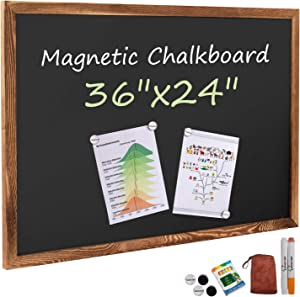Board2by Rustic Wood Framed Magnetic Chalkboard 24 x 36, Large Hanging Chalk Board Sign for Kids, Non-Porous Wall Blackboard for Wedding Kitchen Restaurant Menu and Home with 4 Unique Magnets, Brown
