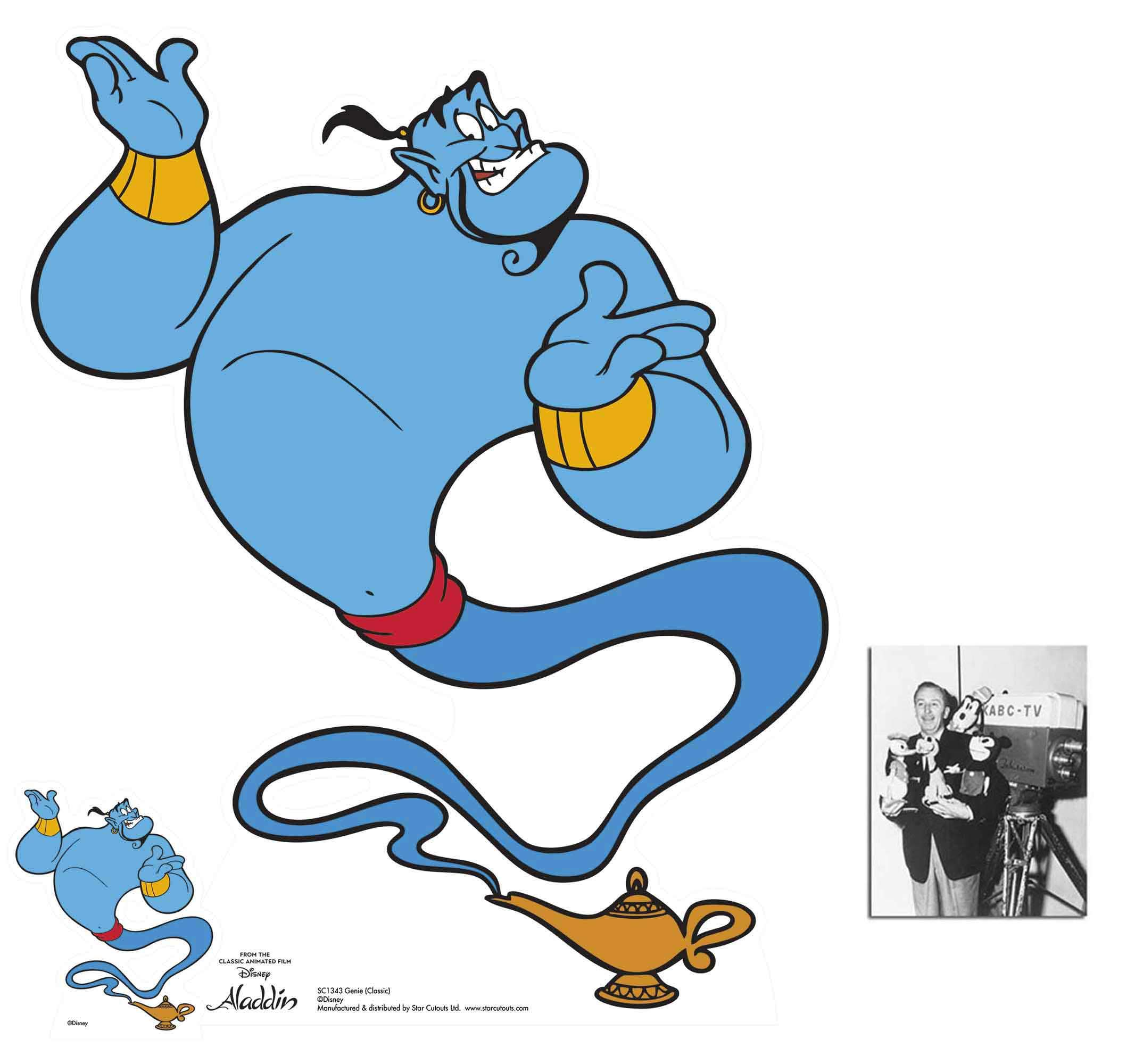 Genie from Aladdin Classic Official Disney Lifesize Cardboard Cutout/Standee Fan Pack, 88cm x 72cm Includes Free Mini Cutout and 8x10 Photo