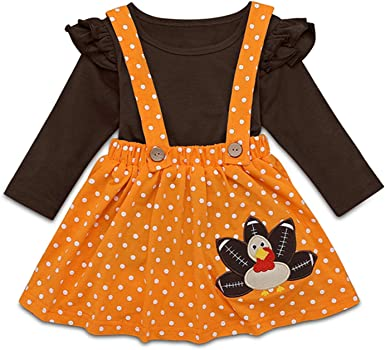 Toddler Girl Thanksgiving Outfit Solid Color Long Sleeve Tee Shirt Tops Polka Dot Suspender Skirt Cute Turkey Outfits