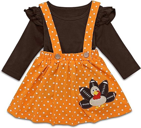 Toddler Kids Girl Thanksgiving Outfits T-Shirt Tops+Plaid Suspender Skirt+Headband Set