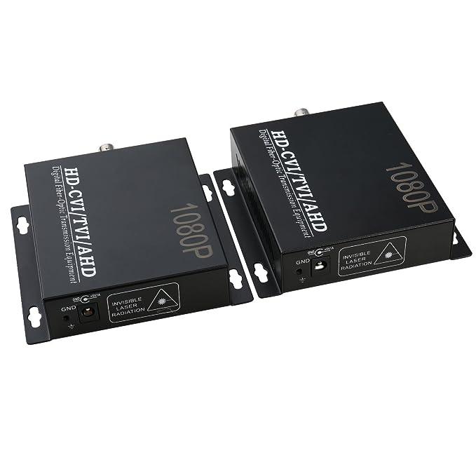 UHPPOTE 1080P HD CVI/TVI/AHD Cable de Fibra Óptica Conversor de Vídeo Transmisor & Receptor: Amazon.es: Electrónica