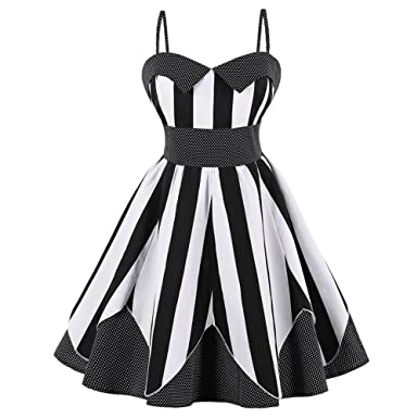 iShine Womens 50s Plus Size Vintage Spaghetti Strap Sleeveless Party Cocktail Dresses Retro Stripe Skater Swing
