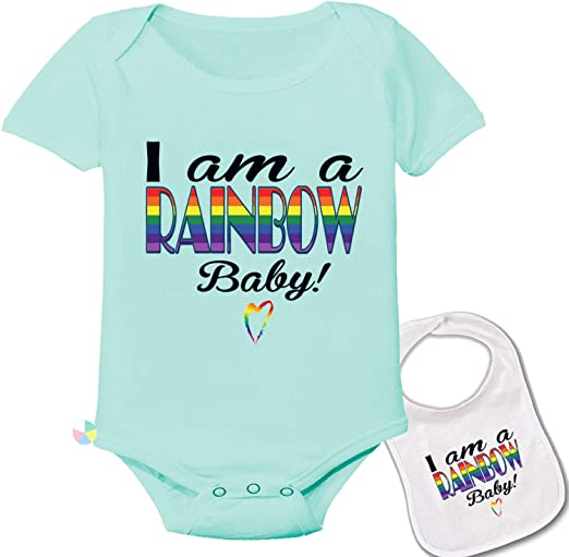 magic moments I AM A Rainbow Baby Full Color Funny Sublimation White Baby Vest OR Bib