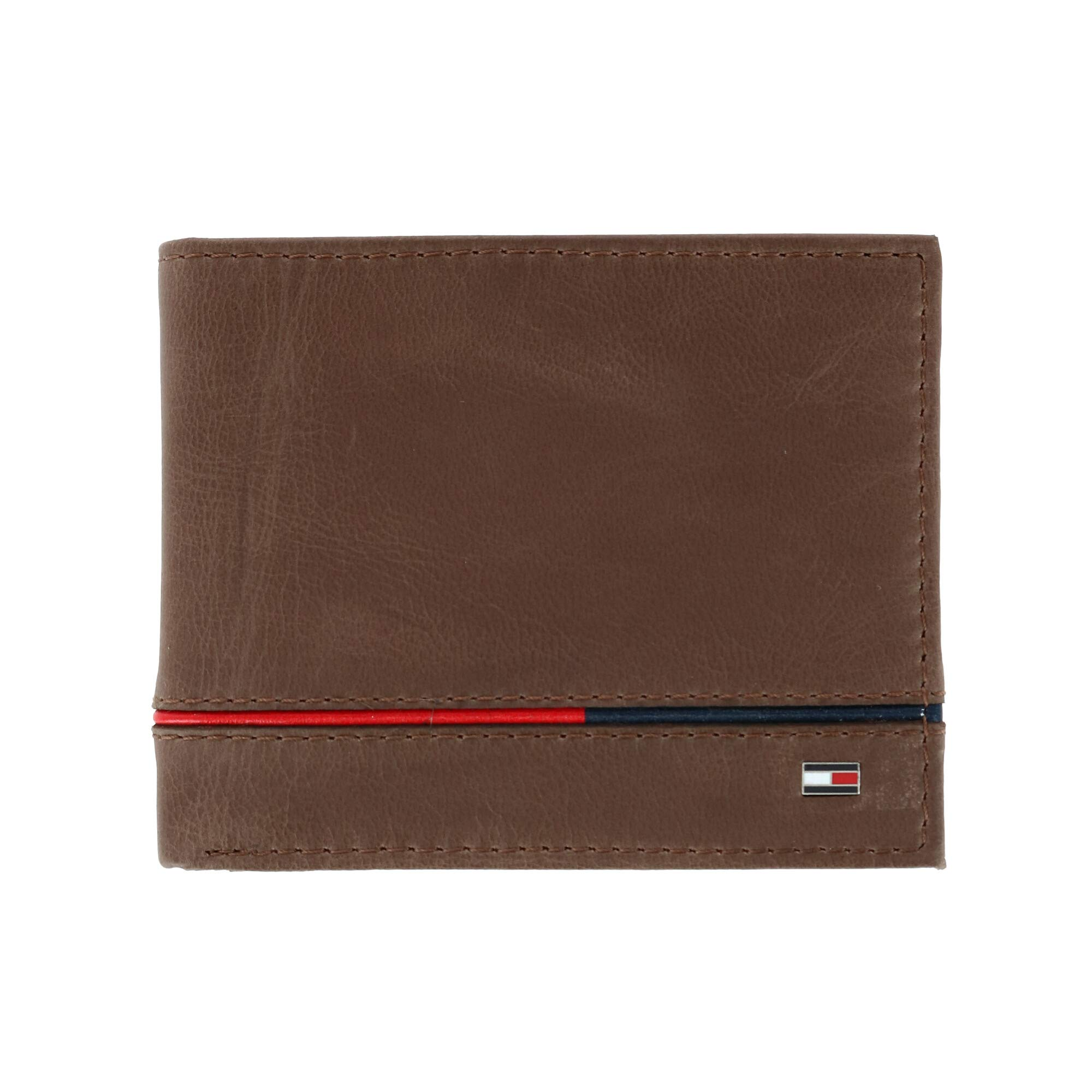 Men's Leather Leif RFID Bifold Wallet with Flip ID, Brown