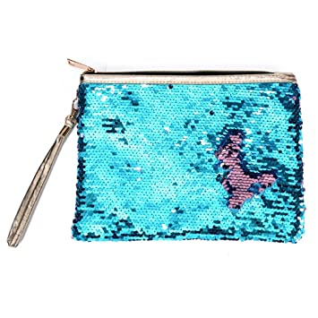 Nueva moda de la sirena de lentejuelas bolso de embrague mujeres reversibles lentejuelas bolso del brillo de la tarde bolso de embrague monedero bolsa ...
