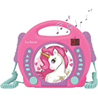 Unicorn - CD Player with mics, Programming Function, Headphones Jack, for Kids, with Power Supply or Batteries, Pink…