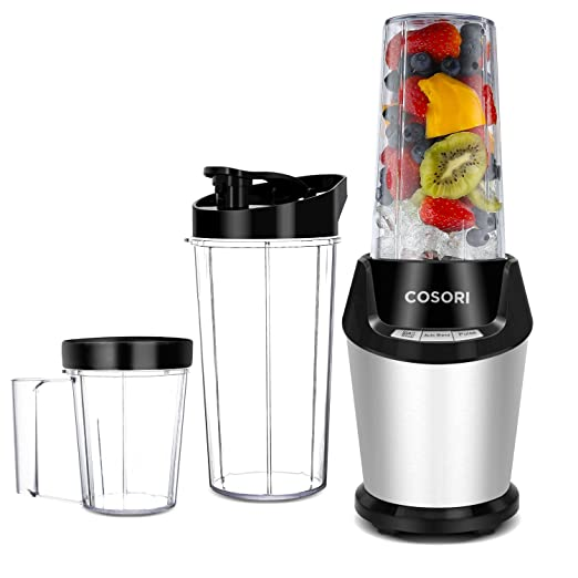 Cosori Personal Blender, 10-Piece with Cleaning Brush, Cups, and Bottles (2x32 oz and 1x24 oz), 800W