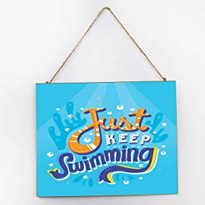 Just Keep Swimming Welcome Sign Wooden Hanging Sign for Front Door Garland for Christmas, Restaurant, Outdoor Decorations 25300.5cm