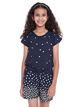 8f0e2b5cb9 oxolloxo Girl s Round Neck Navy Blue Polka dots Playsuit (Short Sleeves)   Amazon.in  Clothing   Accessories