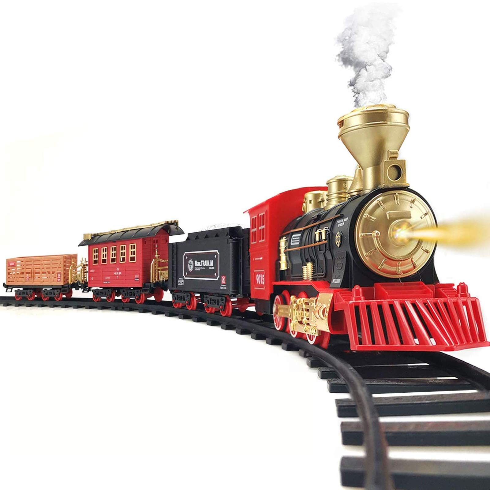 Train Set - Electric Train Toy for Boys Girls w/ Smokes, Lights & Sound, Railway Kits w/ Steam Locomotive Engine, Cargo Cars & Tracks, Christmas Gifts for 3 4 5 6 7 8+ year old Kids
