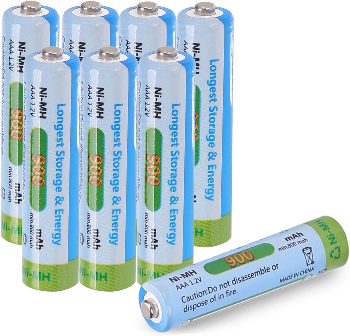 Tera Batería Rrecargable AAA Ni-MH 900mAh 1.2V Batería para Teléfonos Inalámbrico Siemens para 1200 Veces Uso Paquete de 8