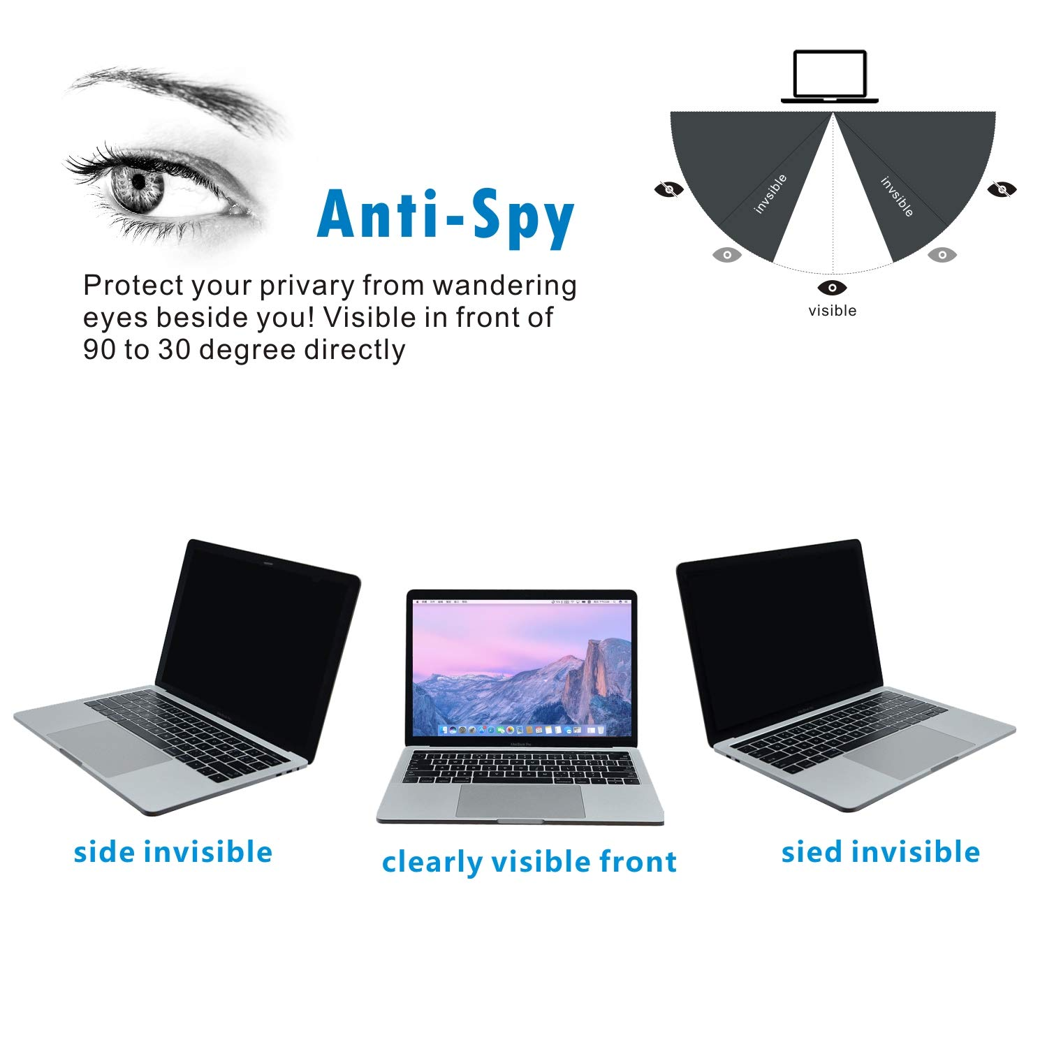 Accgonon Laptop Privacy Screen Protectors Filter,Compatible 13-inch MacBook Pro (2016-current Version,Model:A1706A1708A1989),Anti-Glare Anti-Spy Anti-Blue Scratch and UV Protection,Easy Install by ACCGONON (Image #2)