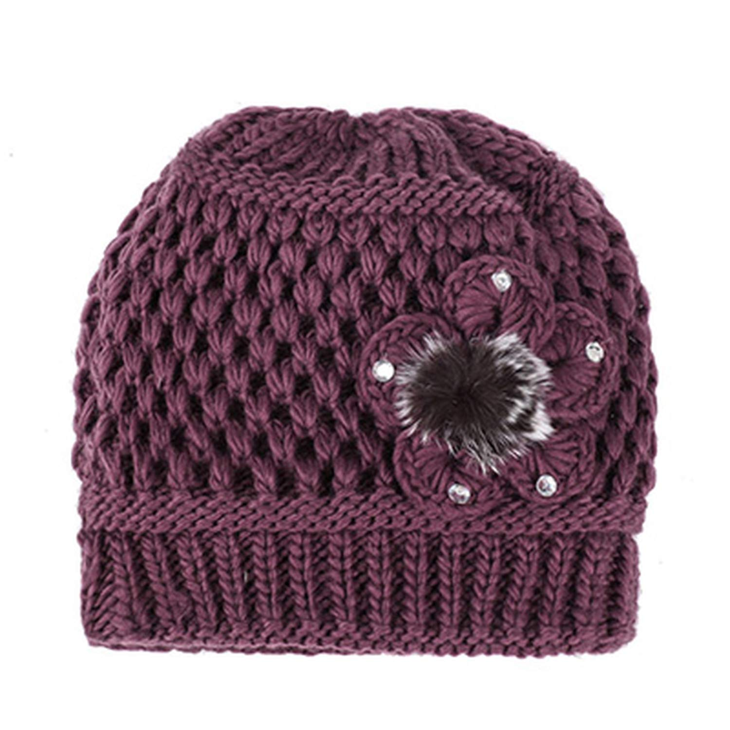 Warm Winter Hats for Women 2018 Knitted Flower Beanies Female Caps Braided Cap Bonnet Femme Mother Hat