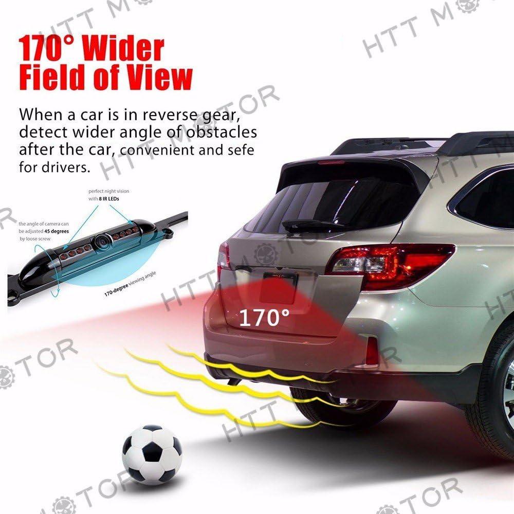 HTTMT MT371-030 US License Plate Frame Mount Waterproof Night Vision Car Rear View Backup Camera
