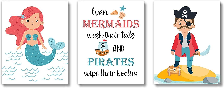 Brooke & Vine Kids Bathroom Wall Decor Art Prints (UNFRAMED 8 x 10 Set of 3) Mermaid Pirate Children, Toddler, Baby Girl, Baby Boy, Classroom, Washroom, Restroom, Powder Room (Mermaid Pirate)