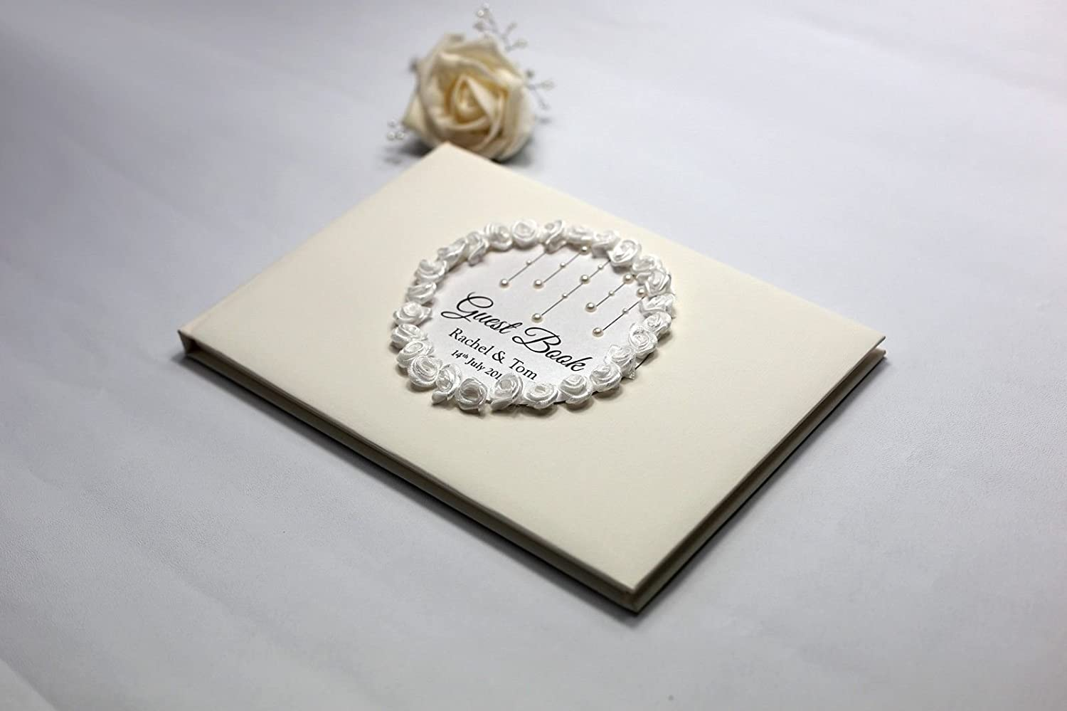 Personalised Wedding Guest Book Elegant Ivory Centre Rose Border Pearl Drops (White Rose) BigBold Creative