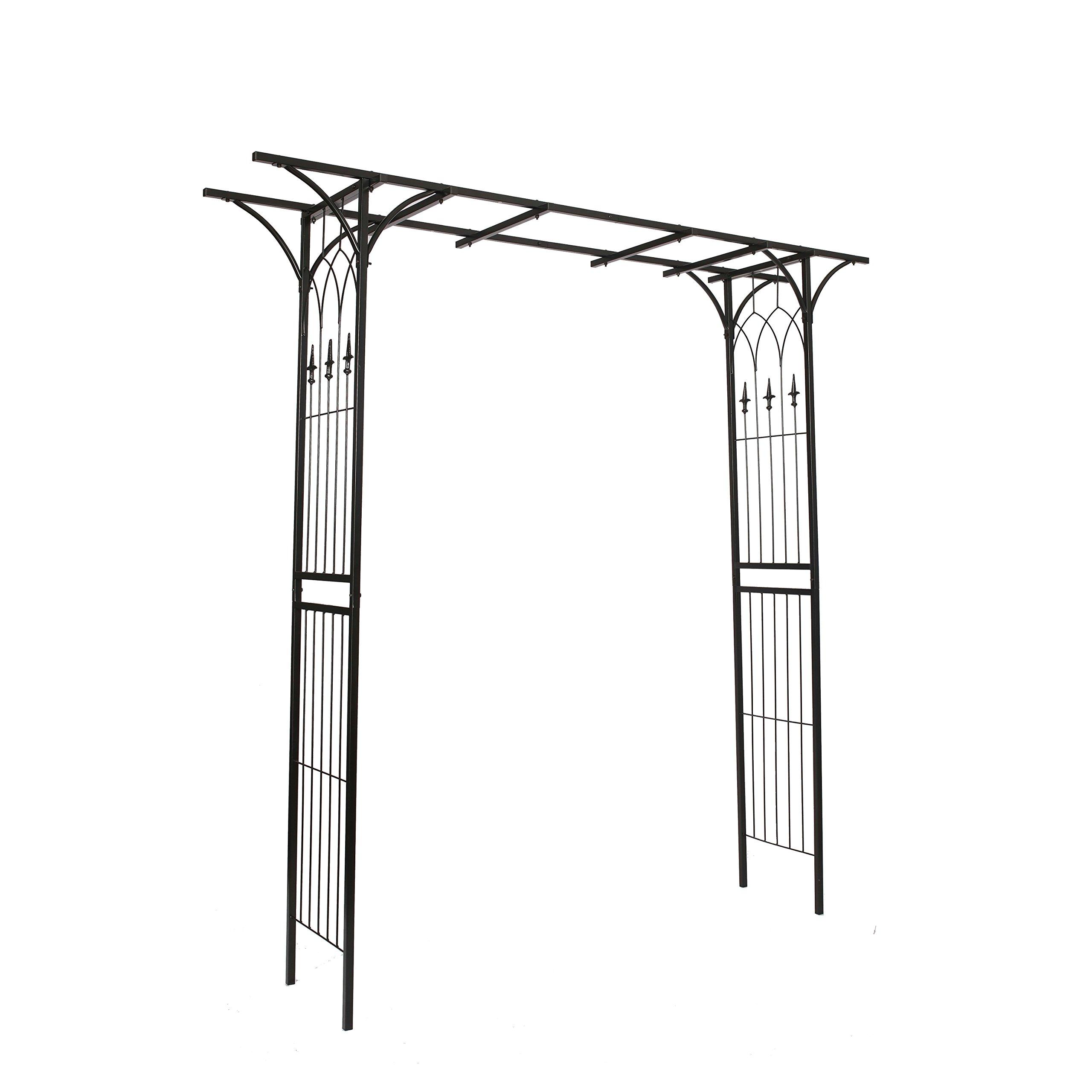 1.Go Steel Garden Arch, 6'9 High x 4'11 Wide, Garden Arbor for Various Climbing Plant, Outdoor Garden Lawn Backyard