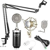 Neewer NW-1500 Professional Estudio Micrófono de Condensador Kit con Tarjeta de Sonido USB, Montaje de Choque, Soporte…