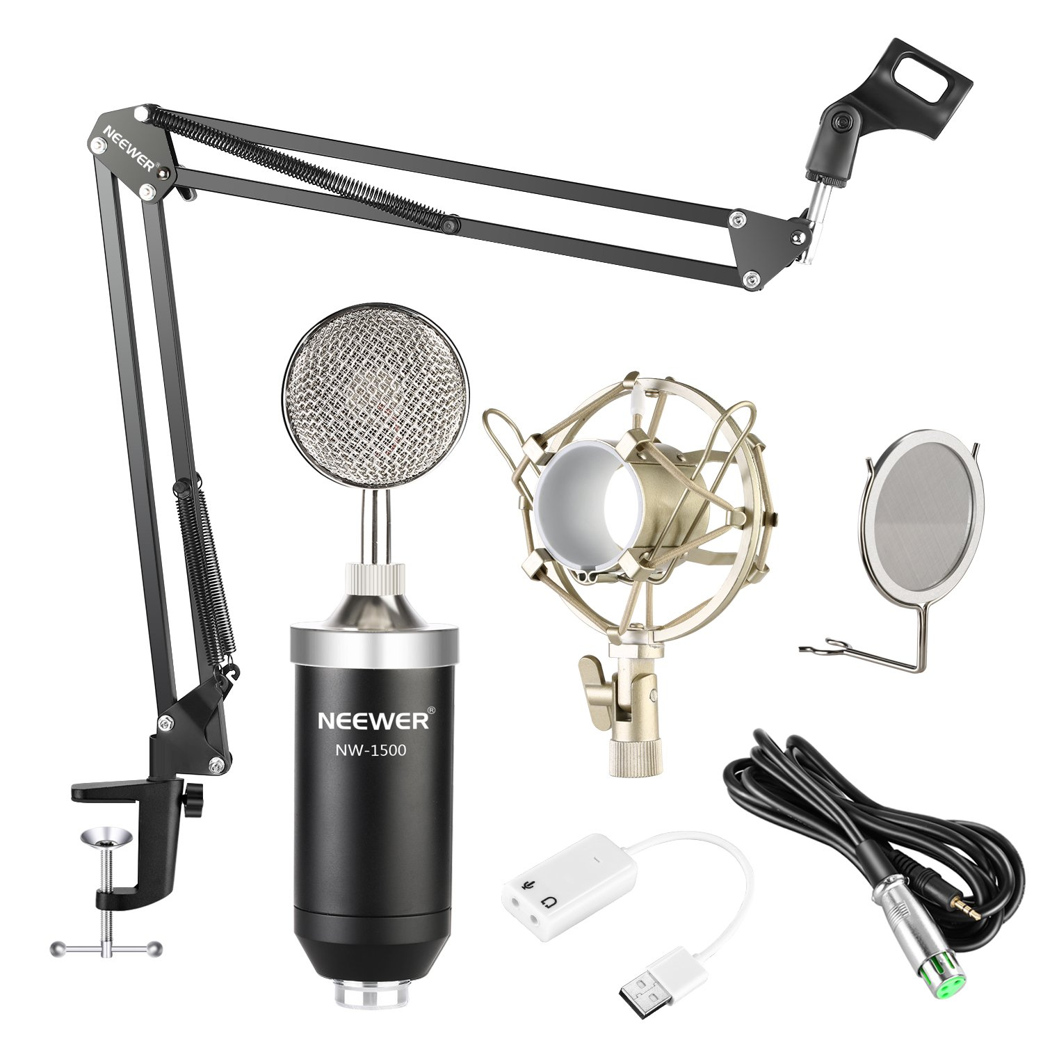 Neewer NW-1500 Professional Studio Condenser Microphone Kit with USB Sound Card, Shock Mount, Mic Suspension Scissor Arm Stand, Pop Filter for Computer Recording Broadcast YouTube(Black and Silver) 40093343