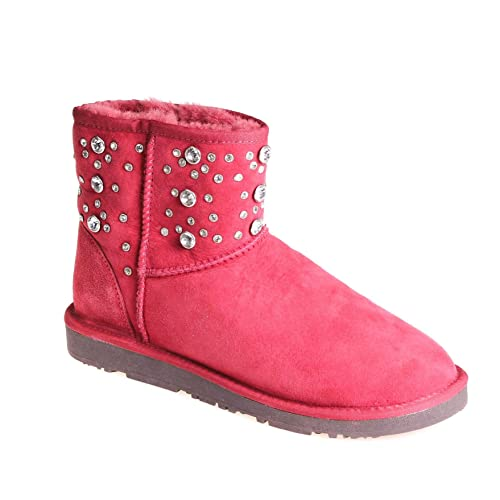 Jina Pia Tozzi Damen Winter Stiefel Wildleder Wildleder Wildleder Rot, Schuhgröße 41 c20a76