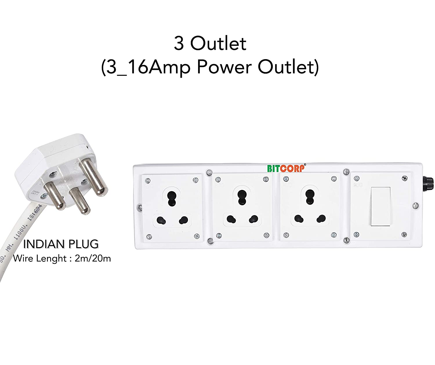 Bitcorp Extension Board With Long Wire 2 Meter 1 5 Mm 3 Socket 1 Switch 15 16 Amp Polycarbonate White Amazon In Home Improvement