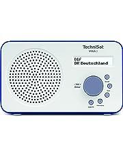 TechniSat VIOLA 2 tragbares DAB Radio  (DAB+, UKW, Lautsprecher, Kopfhöreranschluss, zweizeiligem Display, Tastensteuerung, klein, 1 Watt RMS) weiß/blau