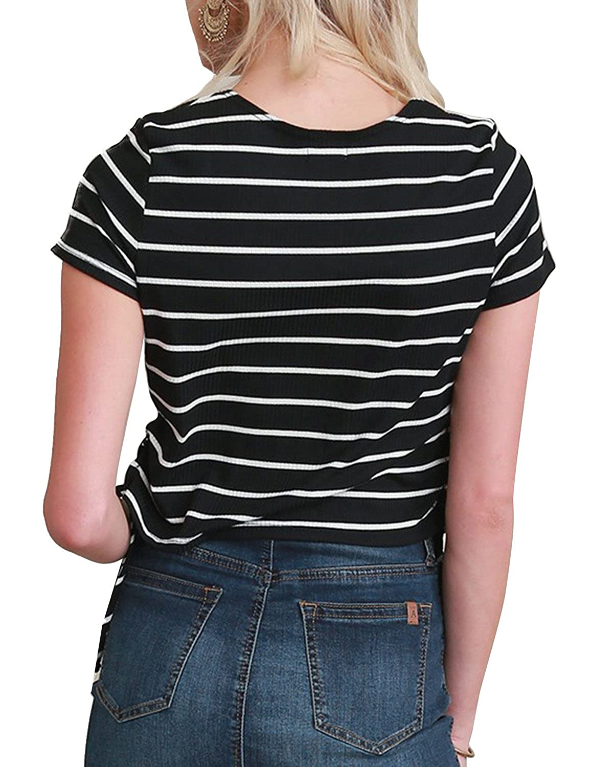 64bca332b27 hodoyi Women's Preppy Style O-Neck Striped Short Sleeves Crop Tops Tees at Amazon  Women's Clothing store: