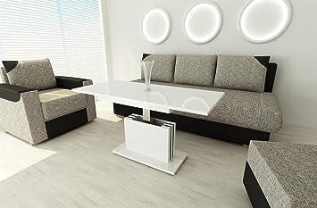 Couchtisch Ausziehbar Höhenverstellbar Wohnzimmertisch Weiss Hochglanz Tisch