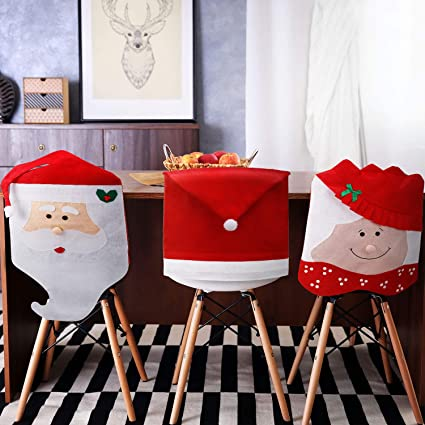 Miraculous Tatuo 4 Pieces Christmas Chair Covers Decor Santa Claus Red Hat Snowflake Chair Xmas Cap Kitchen Dining Chair Slipcovers Sets For Christmas Holiday Squirreltailoven Fun Painted Chair Ideas Images Squirreltailovenorg