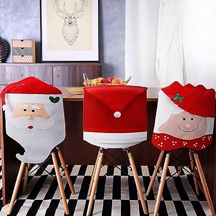 4 Pieces Housses De Chaise De Noel Decor Pere Noel Chapeau Rouge De