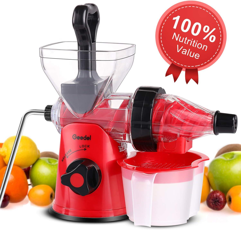 Geedel Manual Masticating Juicer, Original Slow Juicer Machine for Maximum Nutrition Value, Hand Cold Press Juicer for All Fruits and Vegetables